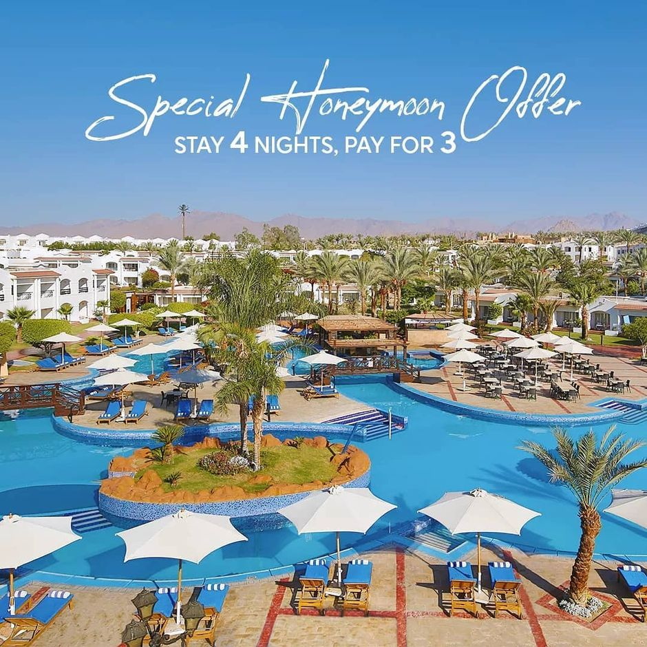 Magical atmosphere, romantic dinner, and an extra night on us when you book 3 nights for your honeymoon at Sharm Dreams resort!  For reservations send us a message.  #howyoujaz #honeymoon #vacation #weddingseason #couplegoals